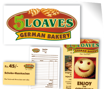 Logo, Produkt-Flyer, Quittungsblock, Preisschilder für 5 Loaves German Bakery | Corporate Design von Wiegelmedia